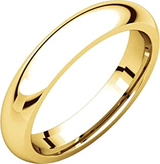 Men's and Women's 14k Yellow Gold, 4mm Wide, Heavy Comfort Fit, Plain Wedding Band