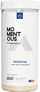 AbsoluteZero Grass-Fed Whey Protein Isolate, 24 Servings Per Jar for Essential Everyday Use, Gluten-Free, NSF Certified - Momentous (Unflavored)