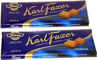*TWO* FAZER MILK CHOCOLATE 200g Bars Made in Finland by Fazer Chocolates