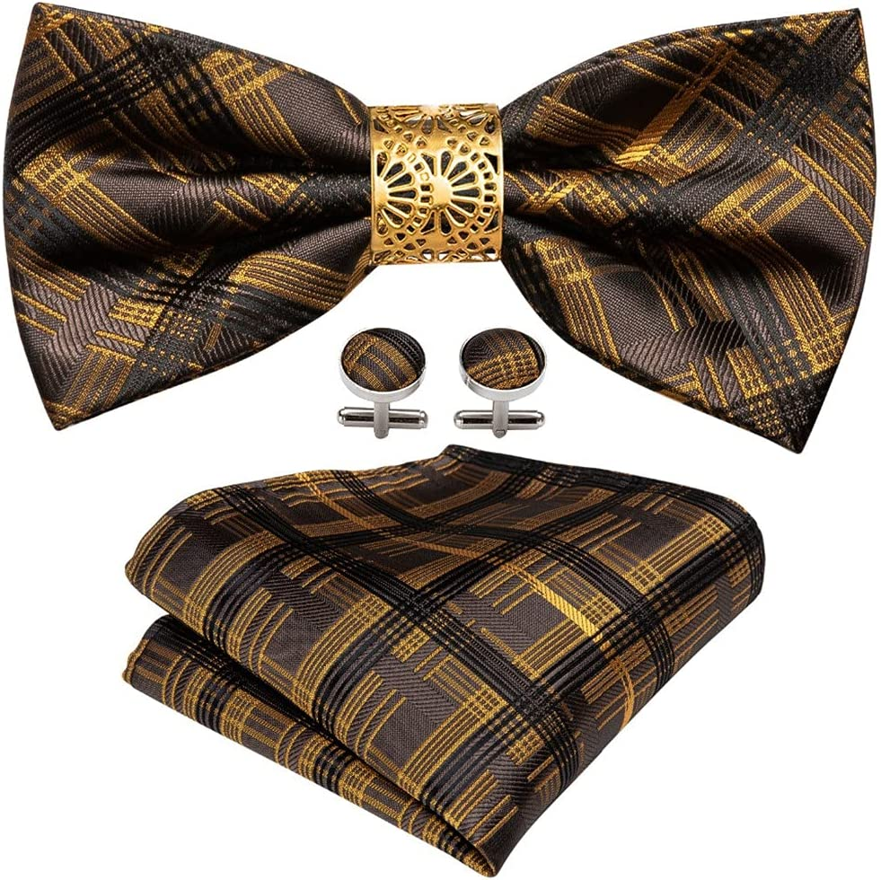 NJBYX Black Gold Plaid Bow Tie For Men Wedding Accessorie Adjustable Butterfly Handky Removable Gold Ring Set (Color : Black Gold Plaid, Size : One size)