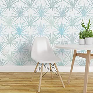 Spoonflower Pre-Pasted Removable Wallpaper, Art Deco Large Scale Tropical Botanical Palm Fronds Florida Native Blue Green Jungle Print, Water-Activated Wallpaper, 24in x 144in Roll
