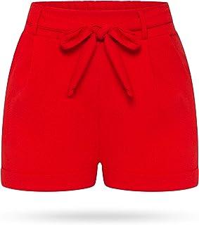 0e16205636b5b4 Kendindza Damen Sommer Shorts | Kurze Hose mit Schleife zum binden |  Bermuda | Uni-
