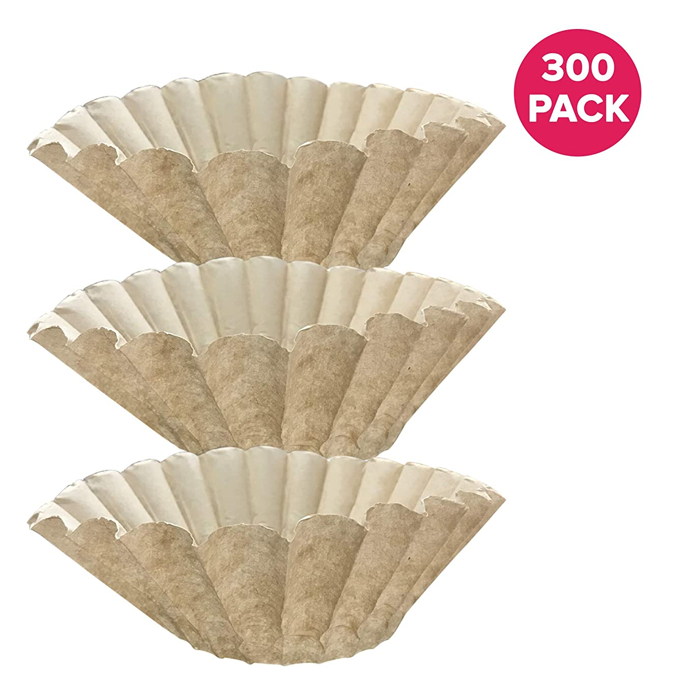 Think Crucial 300PK Replacements for Bunn Unbleached Paper Coffee Filter Fits 12 Cup Commercial Coffee Brewers, Compatible with Part # 1M5002 & 20115.0000
