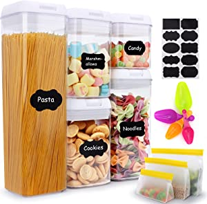 Airtight Food Storage Containers Set, 5 Pcs Kitchen Organization Containers and 3 Pcs Reusable Food Storage Bag, Cereal Food Containers with Lids for pantry organization