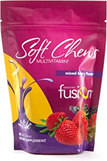 Bariatric Fusion Mixed Berry Bariatric Multivitamin Soft Chews for Post Bariatric Surgery Patients Including Gastric Bypass and Sleeve Gastrectomy, 60 Count, 1 Month Supply