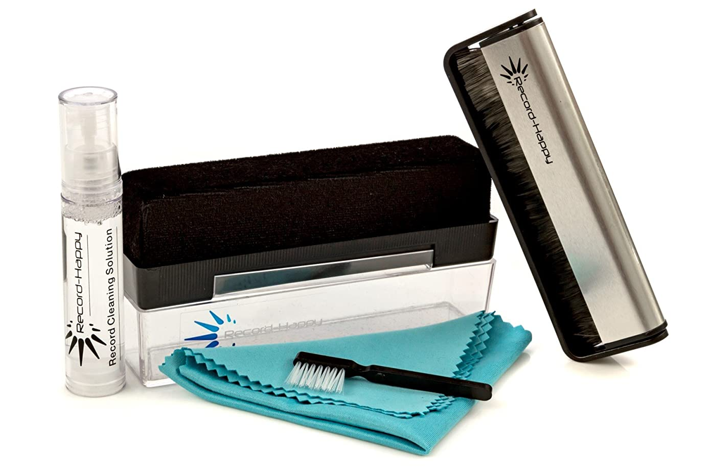 Vinyl Record Cleaning Brush Kit - Premium LP Maintenance Set by Record-Happy. Velvet, Anti-Static Carbon Fiber Brush, Microfiber Cloth and Stylus Cleaner. Keep your Valuable Album Collection like New!