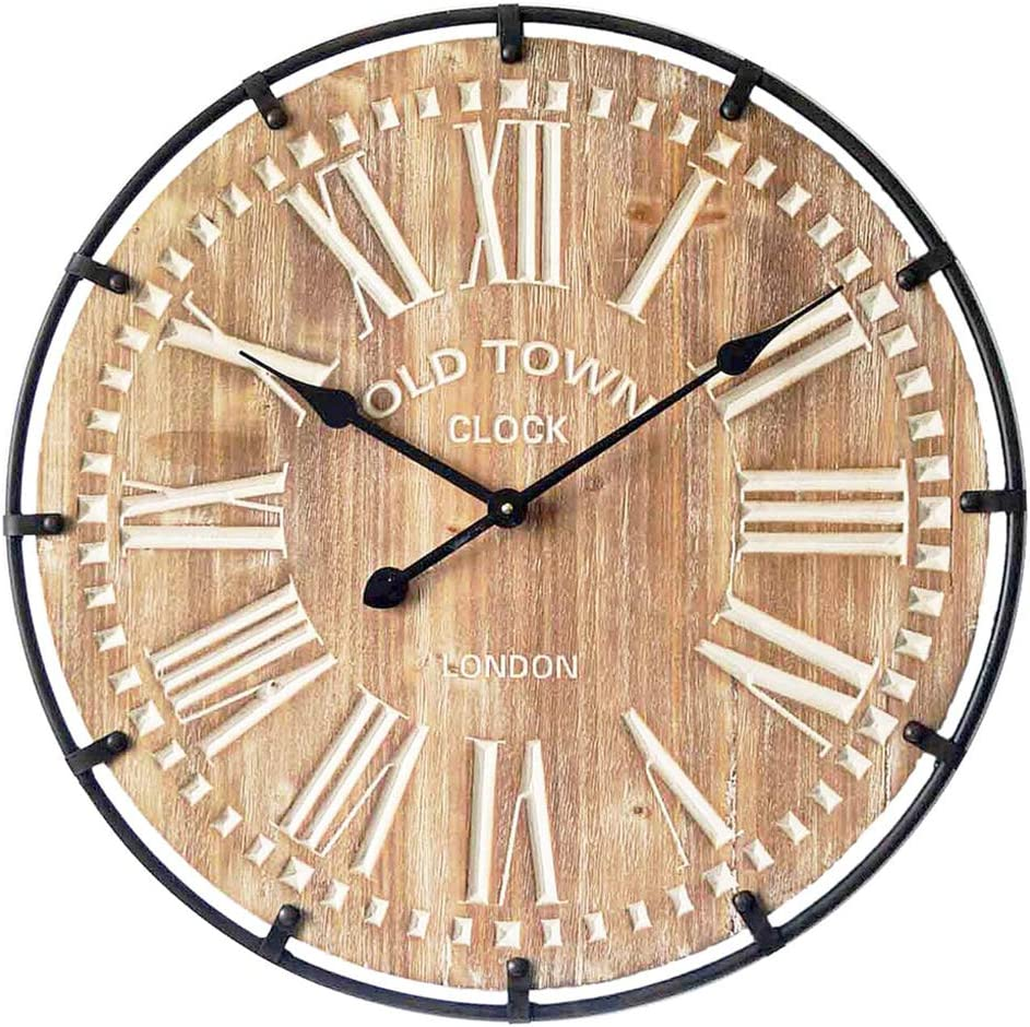 24 Inch Oversized Famhouse Wall Clock, Rustic Antique Wood with Metal Circle and Large Engraved Numerals, Silent Battery Operated for Office Kitchen Bedroom Living Room, Nature