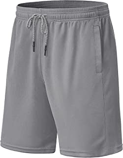 MAGCOMSEN Men's Mesh Running Shorts with 2 Pockets Drawstring Quick Dry Workout Gym Yoga Athletic Shorts