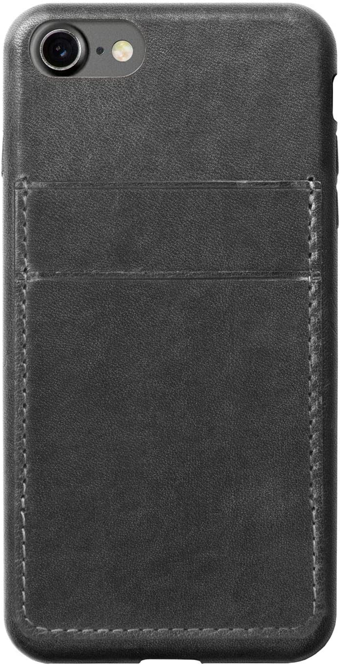Nomad iPhone 7 Plus Horween Leather Credit Card Case - Slate Gray - Develops Patina Over Time - Holds 2 cards