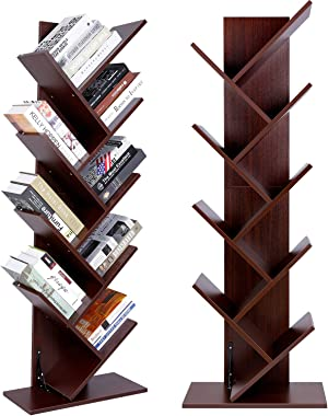 Tree Bookshelf 9-Shelf Bookcase, Amzdeal Wooden Book Rack Free Standing Storage Shelf Space-Saving CDs Albums Books Holder fo
