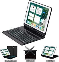 LENRICH iPad Keyboard case for ipad 9.7 2018 6th Generation 2017 5th iPad Air 9.7 Backlit, 7 Color Backlight 360 Rotatable 180 Flip Swivel Wireless Hard Shell Folio Cover Auto Sleep Wake up Black