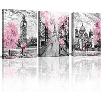 Amazon Com Black And White Canvas Wall Art For Living Room Bedroom Bathroom Girls Pink Paris Theme Room Decor Oil Painting Print London Big Ben Tower Eiffel Painting For Wall Decor Pink Posters