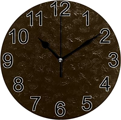 JERECY Wall Clock Retro Brown Silent Non Ticking Acrylic 10 Inch Home Decorative Office School Round Clock Art