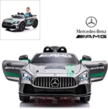 Mercedes Benz AMG GT4 Electric Ride On Car with Remote Control for Kids, 12V Power Battery Official Licensed Kids Car with 2.4G Radio Parental Control Opening Doors, Painted Silver