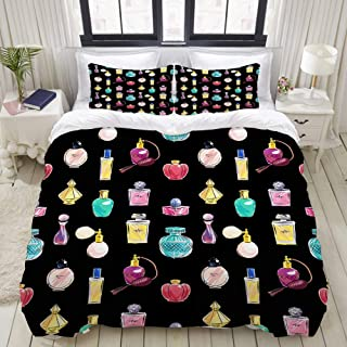 NIKIVIVI Duvet Cover,Beautifulscent Cosmetic Perfumer Glass Attractive Spray Old Collection Glamour Cosmetology Vintage,Modern Customize Bedding Set Comfort with 2 Pillowcases Various Pattern,88