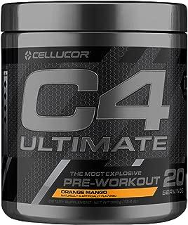 C4 Ultimate Pre Workout Powder Orange Mango | Sugar Free Preworkout Energy Supplement for Men & Women | 300mg Caffeine + Beta Alanine + Creatine | 20 Servings