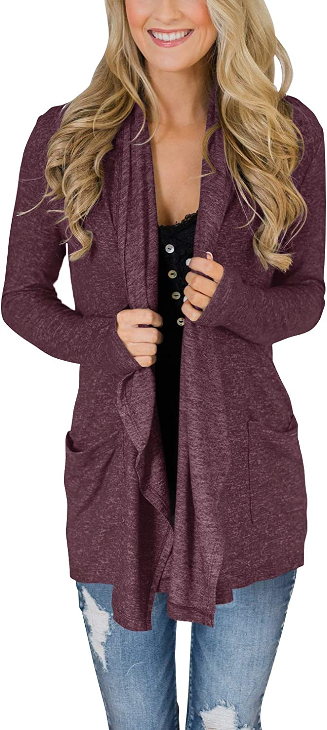 PRETTODAY Women's Drape Open Front Sleeve Long Mail Ranking TOP10 order Casual Cardigans