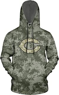 ONGEDS Camo Sports Pullover Hooded Sweatshirt for Mens Veterans Day 3D Print Coat