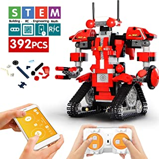 Mould King Remote Control Building Block Robot Educational Electric RC Robot Bricks STEM Toys with LED Intelligent Charging Gift for Boys Girls Age of 6,7,8,9-14 Year Old (Red)