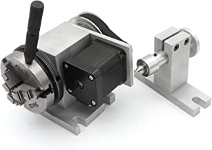 CNC Milling Machine Rotational Axis CNC Router Rotary Table Rotary a axis 4th Axis 65mm 3 Jaw Chuck Dividing Head with 42 stepper motor & 54mm Tailstock Reducing ratio 4:1 for CNC Engraving Machine