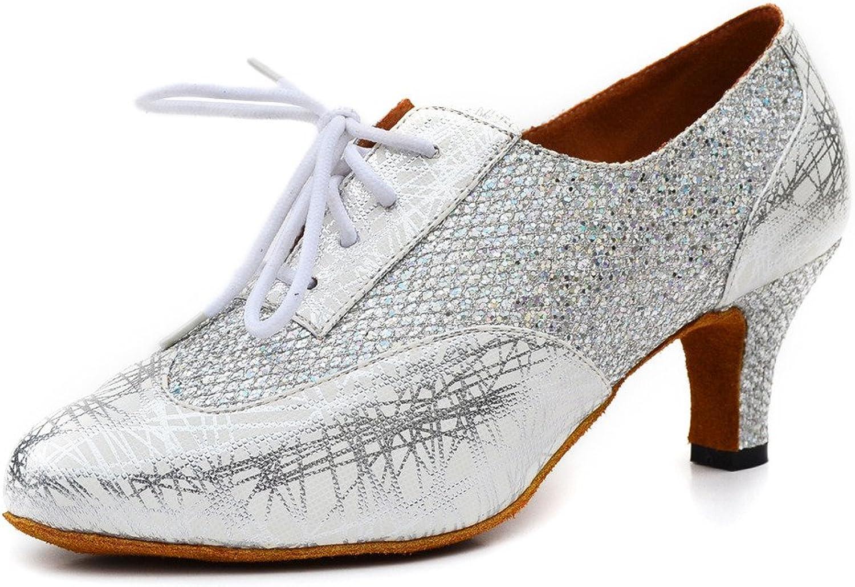 Misu Women's Closed Toe Suede Sole Latin Salsa Tango Practice Ballroom Dance shoes with 2.3  Heel Silver