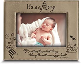 BELLA BUSTA - Sometimes The Smallest Things take up The Most Room in Your Heart (Winnie The Pooh) -It's a Boy- Baby's 1st Picture-Engraved Leather Picture Frame-(4 x 6 Horizontal(It's a Boy)