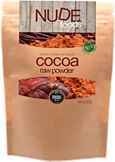 NUDE Foods Cacao Ecológico en polvo | Organic Raw Cacao |  Bio Certificado| Producido a partir de Theobroma Cacao | Energizante | Antioxidantes | Minerales | Vitaminas | Vegan Friendly