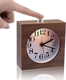 Bedside Clock,ECVISION Small Wooden Clock The Square Black Walnut Alarm Clock Silent Desk Snooze Clocks With Nightlight