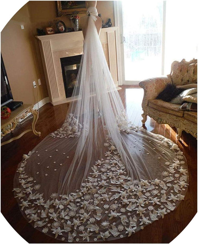 3D Floral Appliques Bridal Veils for Romantic Wedding One Layer Soft Netting Wedding Veil,Ivory,500cm