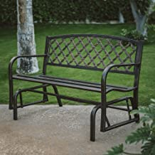 Outdoor Garden Metal Glider Bench, Crossweave Curved Back 4 ft. Deck Seat Furniture, Ideal for Backyard, Porch or Patio
