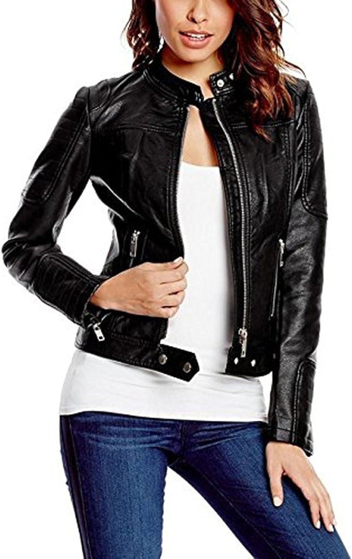 New Women's Black Leather Motorcycle Biker Jacket Soft Lambskin LFWN342