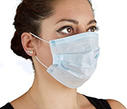 Disposable Face Masks, Earloop Face Masks Germ Dust Protection, Flu, Allergy,3-Ply filter face mask, Blue, Pack of 50