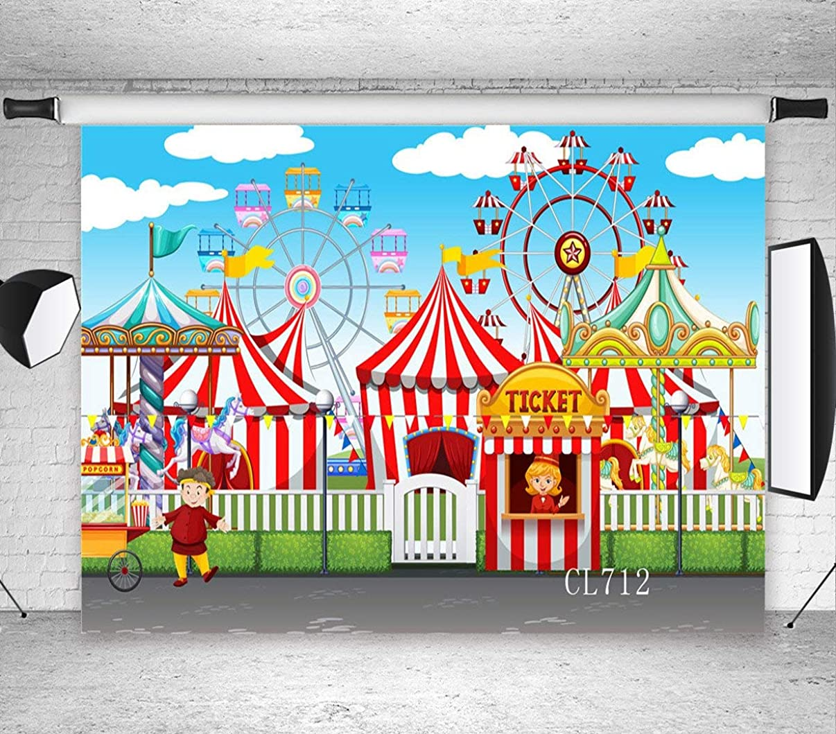 LB Circus Carnival Party Backdrop for Photography 7x5ft Vinyl Wheel Circus Tents Stratus Playground Child Baby Shower Birthday Party Decoration Photo Background Studio Props