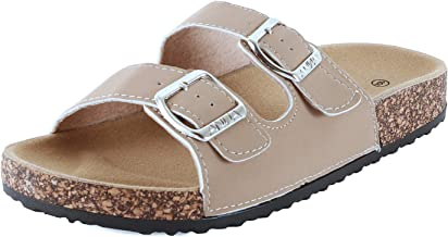 Guilty Shoes Womens Slippers Double Strap Easy Slip On Flip Flops Thong Casual Slides Sandals Flats (8 M US, Taupe Nub)