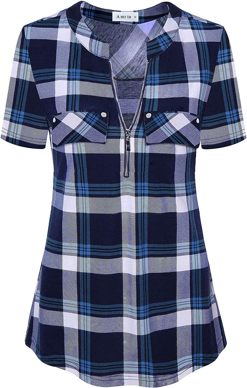 Amrto Womens V Neck Short Sleeve Tunic Tops Business Casual Zipper Blouses