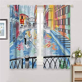 GUUVOR Venice Blackout Curtain Set Colorful Sketch of a Landscape The Bridge of Sighs in Venice Artistic Romantic Scene Kindergarten Shading Insulation W42 x L84 Inch Multicolor