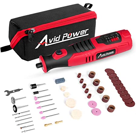 AVID POWER Cordless Rotary Tool with 2.0 Ah 8V Li-ion Battery, 5-Speed, 4 Front LED Lights and 60pcs Accessories Kit for Carving, Engraving, Sanding, Polishing and Cutting