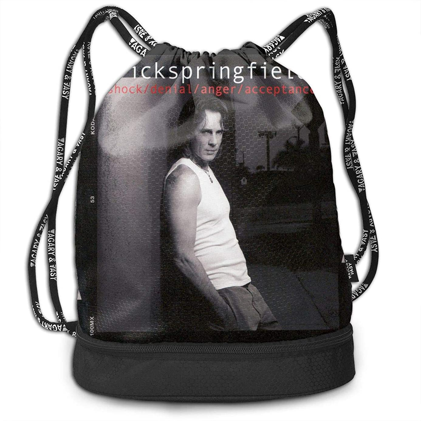 Fashion Outdoor Shopping Satchel Rucksack Backpack Bundle Pocket Drawstring Bag Daypack, Rick Springfield Shock Denial Anger