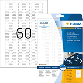 HERMA Etichette per Prezzi, 49 x 10 mm, Etichette Adesive A4 per Stampante, 60 Etichette per Foglio, Bianco