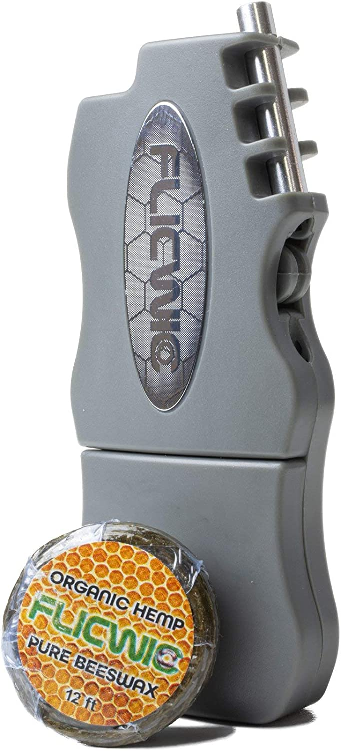 FLICWIC Hemp Wick Grey Translated Dispenser with Lighter Now on sale Case for Mini-Bic