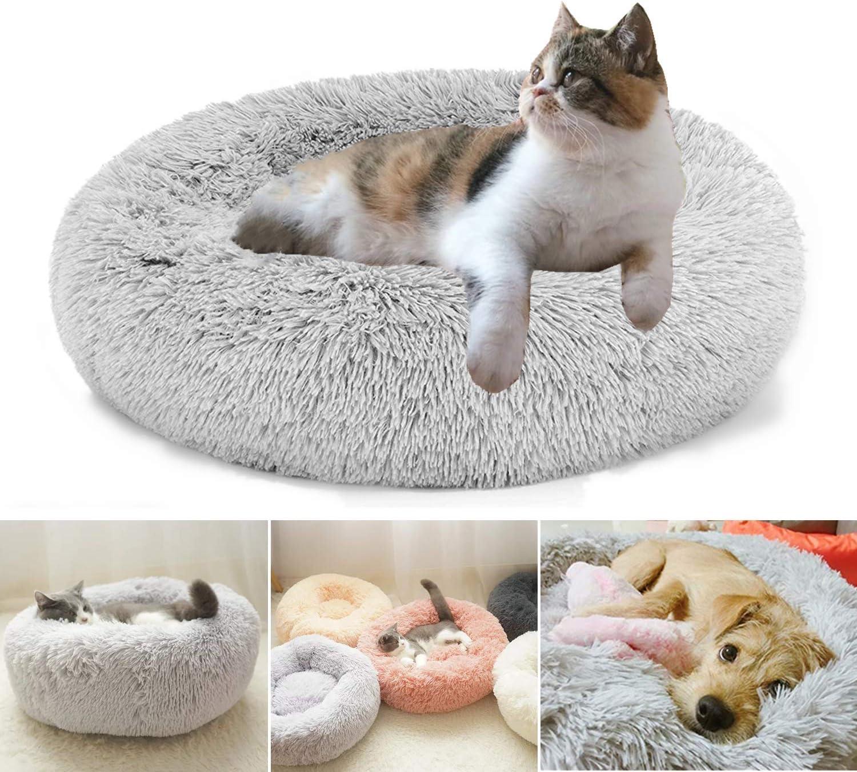 Cama de Felpa para Mascotas Perros Gatos, Cama Calmante Redonda, 50CM Cojín Suave Cómodo Lavable para Gatos Perros Pequeños y Medianos (Gris Ligero)