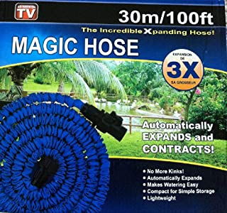 Expanding Magic Hose, 100 Feet With Sprayer Nozzle Blue