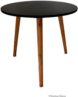 Retro Mid Century Modern Danish-Style Black Wood & Melamine Accent Side Table