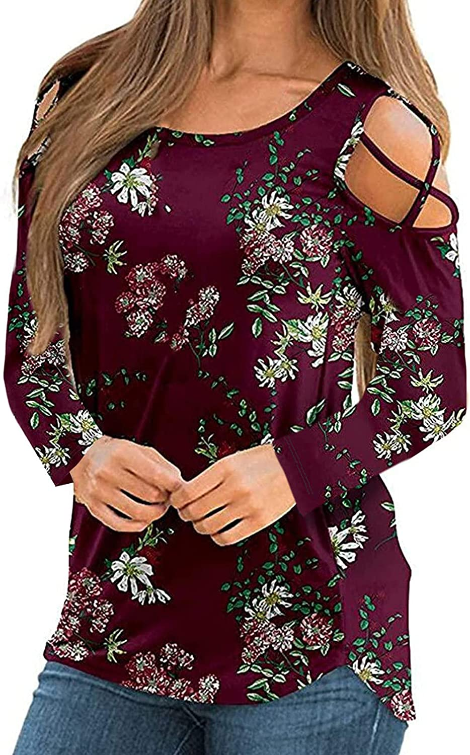 FABIURT Women Long Sleeve Tops, Womens Fall Floral Printed Cold Shoulder Long Sleeve Shirt Casual Loose Pullover Blouses