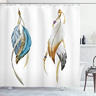 Ambesonne Ethnic Shower Curtain, Eastern Feathers Animism and Ceremonial Local Artwork Print, Cloth Fabric Bathroom Decor Set with Hooks, 70 Long, Sea Blue