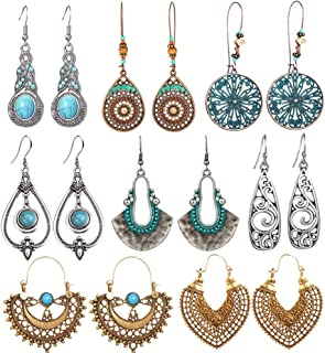 8 Pairs Vintage Statement Drop Dangle Earrings Bohemian...