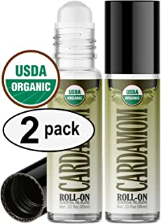 Organic Cardamom Roll On Essential Oil Rollerball (2 Pack - USDA Certified Organic) Pre-diluted with Glass Roller Ball for Aromatherapy, Kids, Children, Adults Topical Skin Application - 10ml Bottle