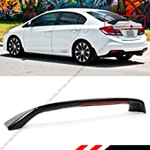 Cuztom Tuning Fits for 2012-2015 9th Gen Honda Civic 4 Door Sedan Si Style Glossy Black Trunk Spoiler Wing W/LED Brake Light