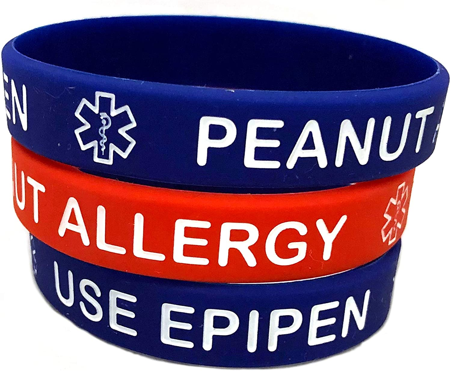 Kids/Youth Peanut Allergy Use Epipen Silicone Bracelet (Lot of 2)