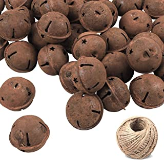 Outuxed 72Pcs 4cm Rusty Metal Star Cutout Jingle Bells with 98.5ft Jute Twine for DIY Craft, Holiday Decoration, Christmas Decoration
